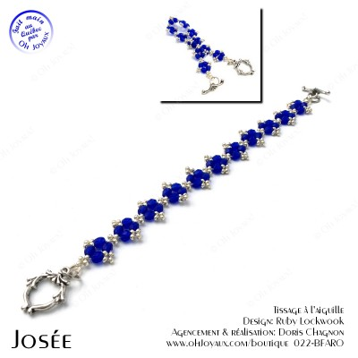Bracelet Josée de couleur saphir et argenté