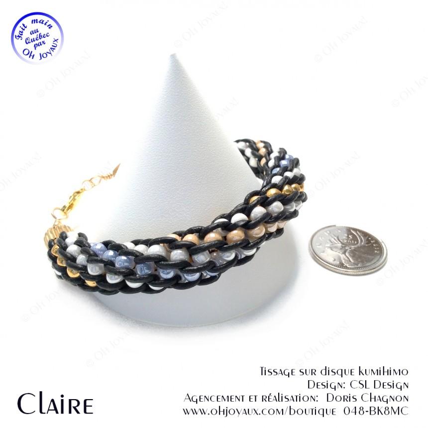 Bracelet Claire - Kumihimo cuir et billes multicolores