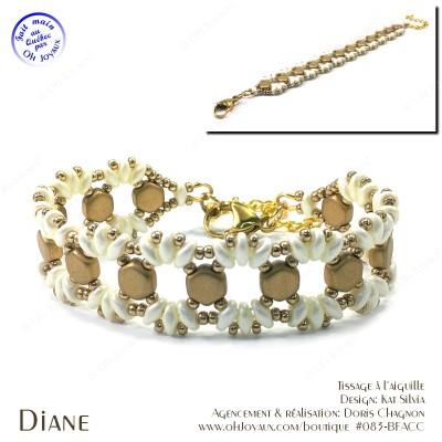 Bracelet Diane en champagne et crème