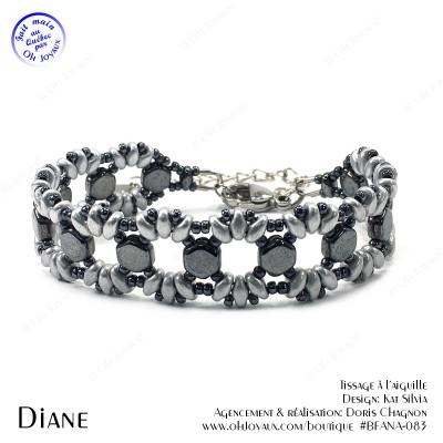 Bracelet Diane en argenté et hématite