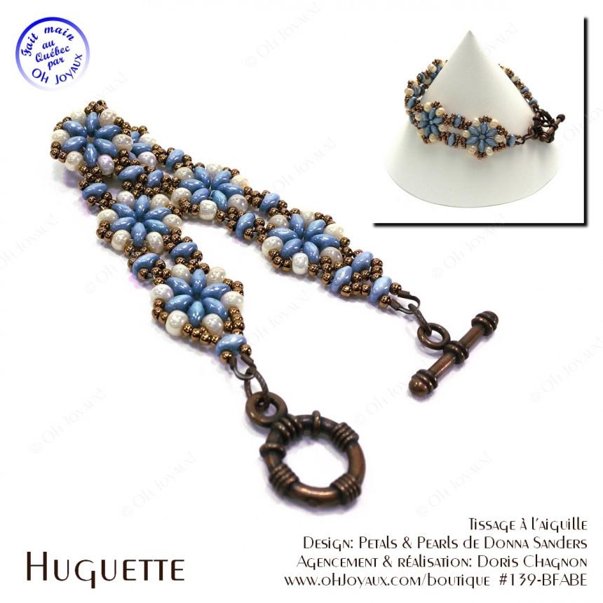 Bracelet Huguette en bleu-turquoise et crème