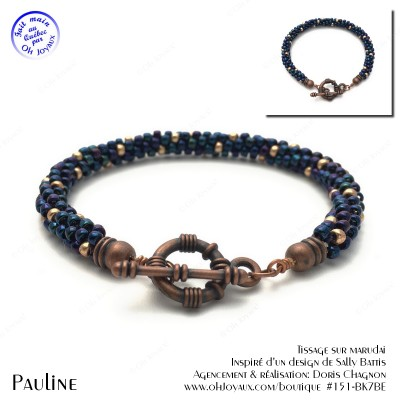 Bracelet Pauline en marine et champagne