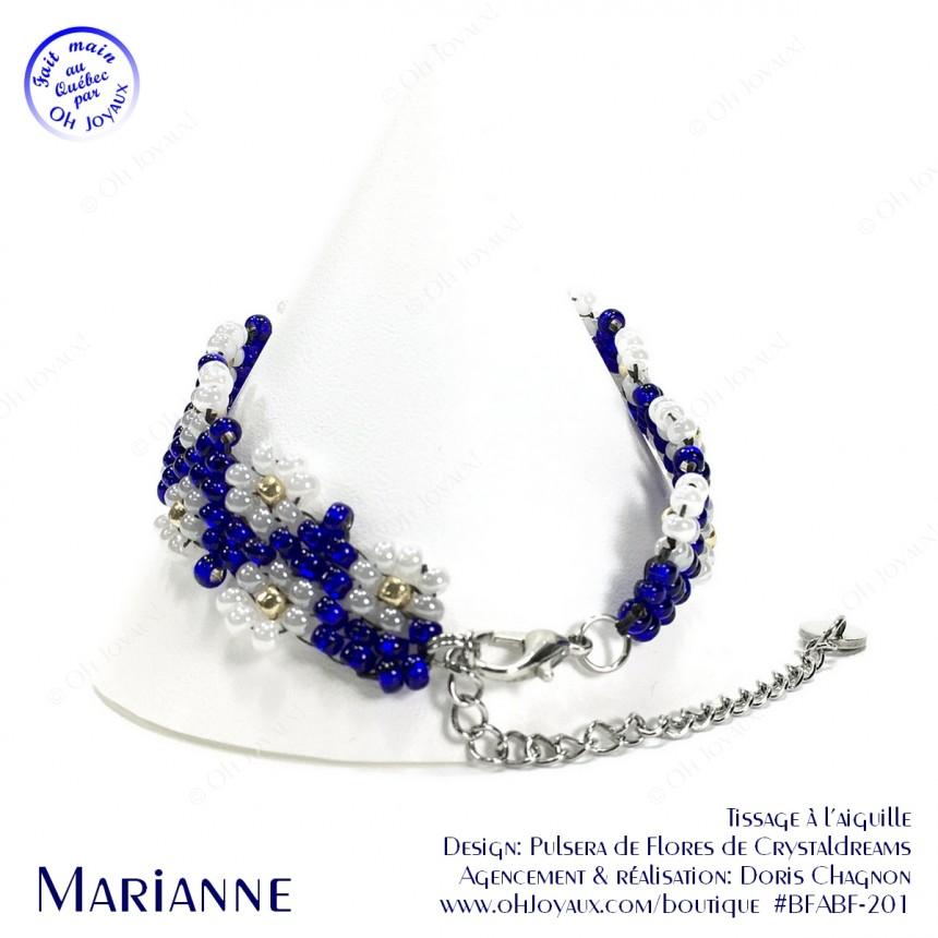 Bracelet Marianne en marine et blanc