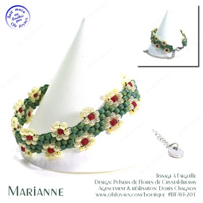 Bracelet Marianne en vert avocado et crème à la banane