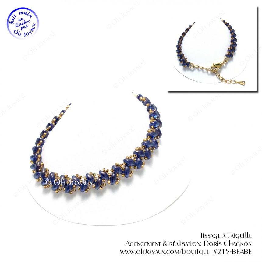 Bracelet Petits pas de deux bleu et or