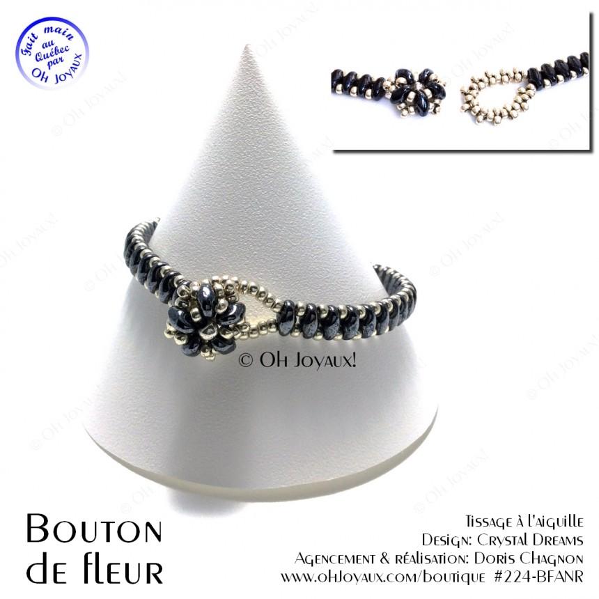 Bracelet Bouton de fleur noir et argent