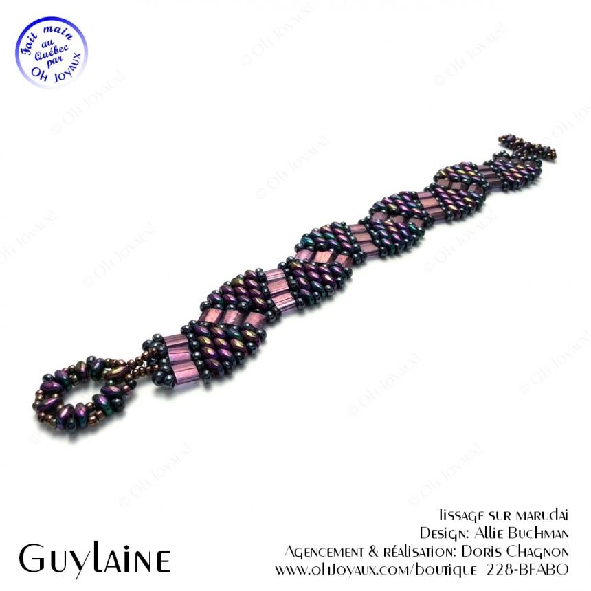 Bracelet Guylaine en lilas mauve