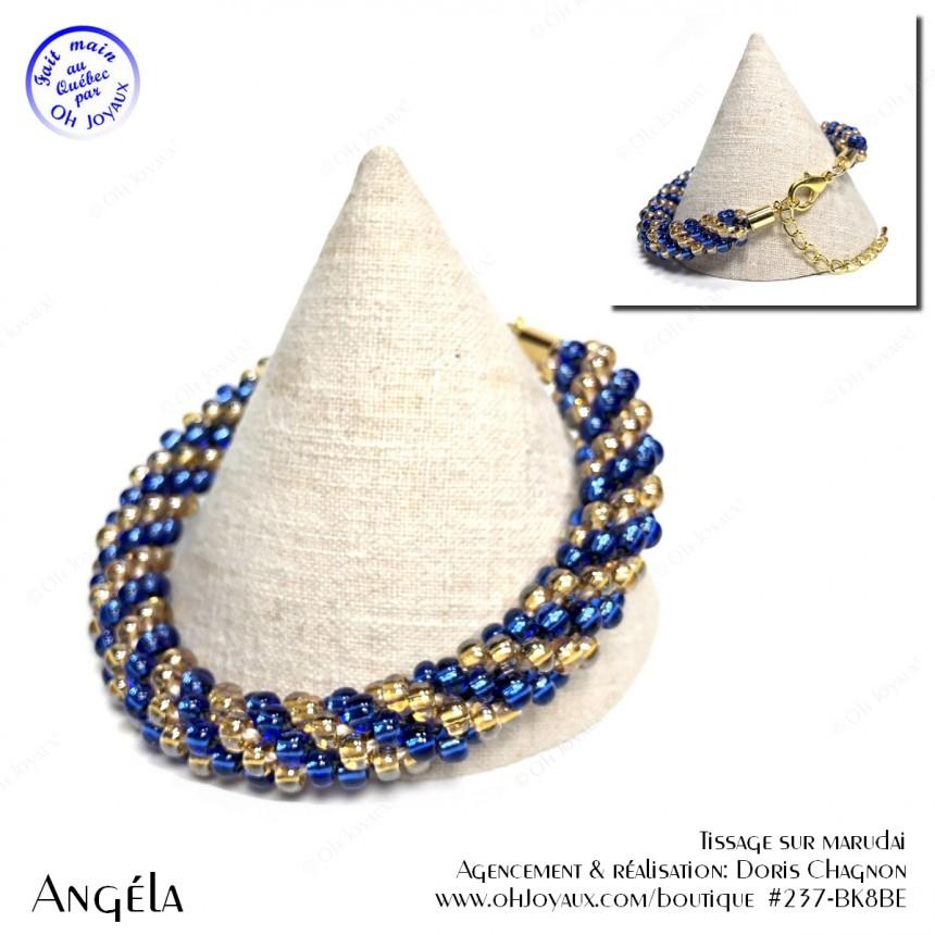 Bracelet Angéla en bleu et champagne