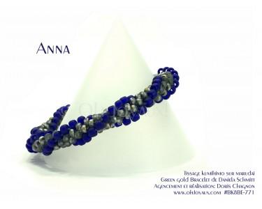 """Bracelet """"Anna"""" en bleu cobalt et gris vitrail"""