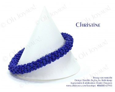 "Bracelet ""Christine"" en 2 tons de bleu royal"