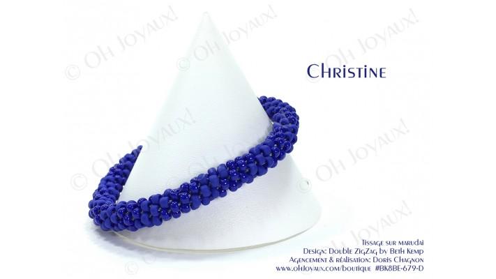 "Bracelet ""Christine"" en 2 tons de bleu royal"