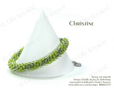 "Bracelet ""Christine"" en 2 tons de vert lime"