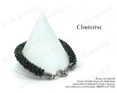 """Bracelet """"Christine"""" en 2 tons de vert forêt"""