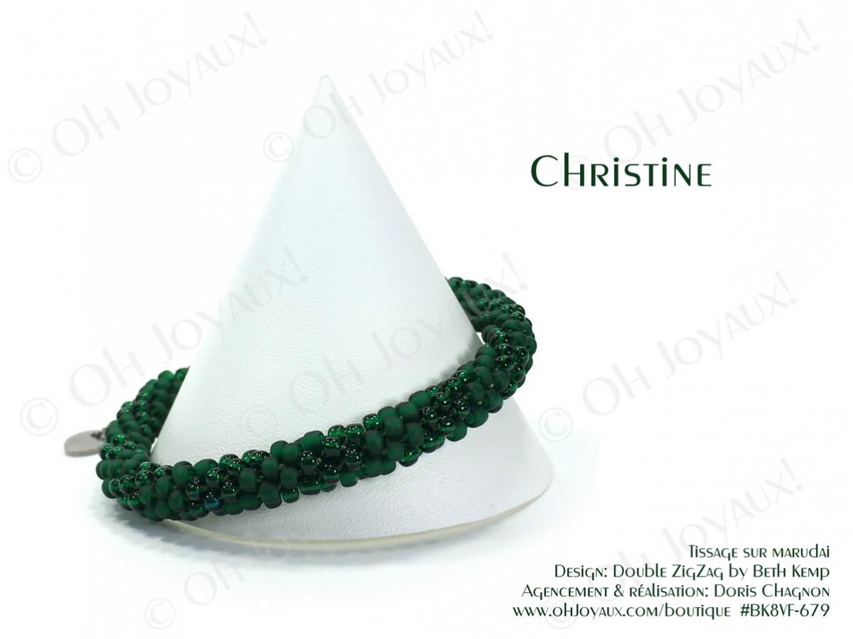 "Bracelet ""Christine"" en 2 tons de vert émeraude"