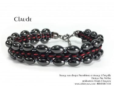 """Bracelet """"Claude"""" en noir avec hématites"""