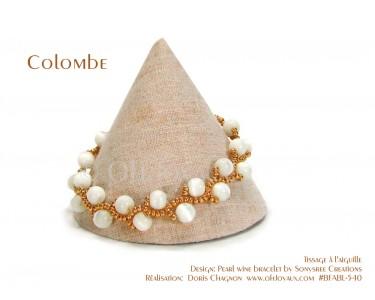 "Bracelet ""Colombe"" en blanc et or"