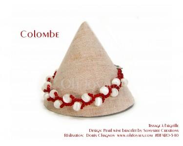 "Bracelet ""Colombe"" en blanc et rouge"