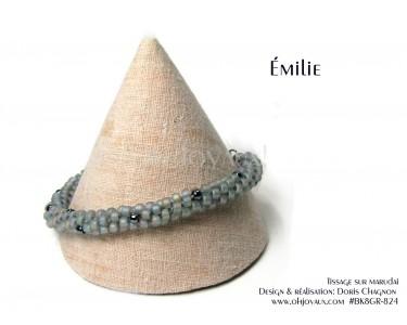 """Bracelet """"Émilie"""" en gris et noir"""