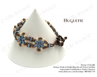 """Bracelet """"Huguette"""" en bleu-turquoise et crème"""