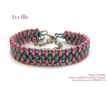 "Bracelet ""Lucille"" en rose et turquoise"