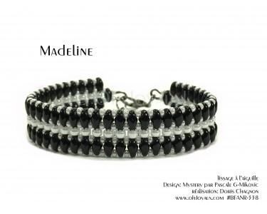 """Bracelet """"Madeline"""" en noir et blanc"""