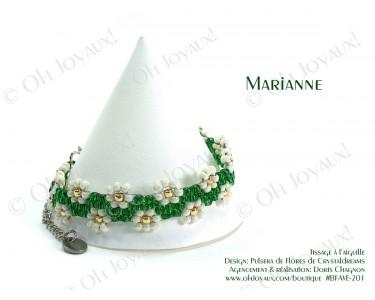 """Bracelet """"Marianne"""" en vert émeraude et crème"""