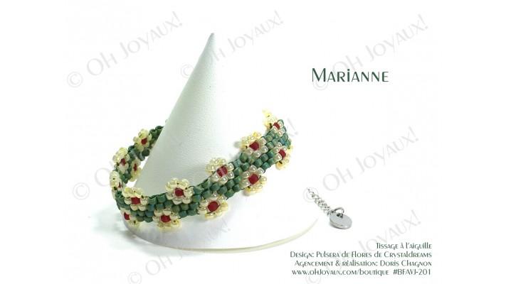 """Bracelet """"Marianne"""" en vert avocat et crème à la banane"""