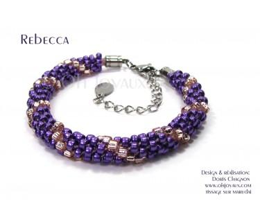 """Bracelet """"Rebecca"""" en magenta et champagne"""