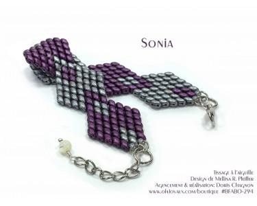 """Bracelet """"Sonia"""" en bordeaux et argent"""
