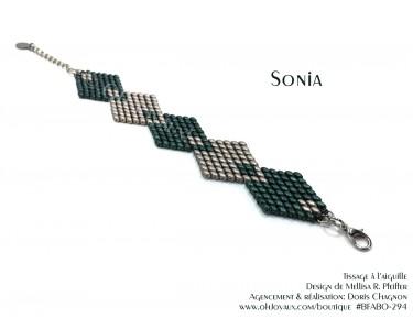 """Bracelet """"Sonia"""" en vert et café crème"""
