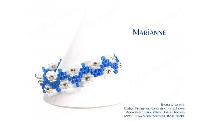 """Bracelet """"Marianne"""" en bleu pâle et blanc"""