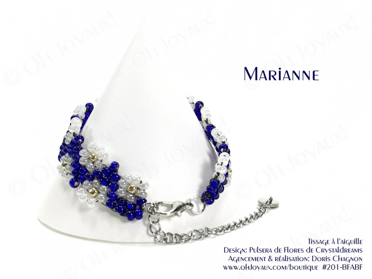 "Bracelet ""Marianne"" en marine et blanc"