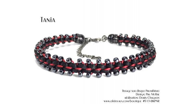 """Bracelet """"Tania"""" en noir et rouge"""