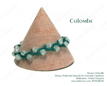 """Bracelet """"Colombe"""" en transparent et vert émeraude"""