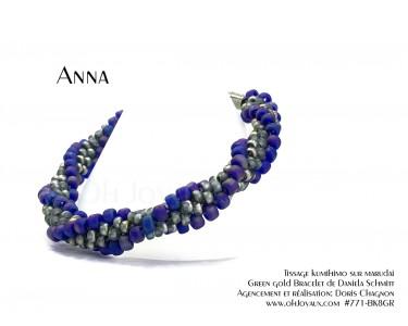 """Bracelet """"Anna"""" en bleu cobalt aurore boréale et gris vitrail"""