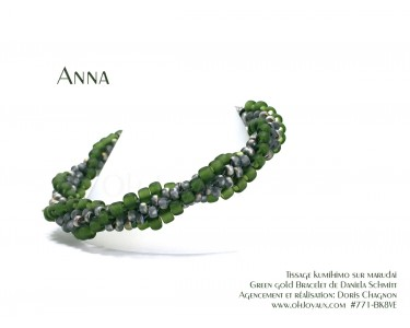 "Bracelet ""Anna"" en vert sarcelle et gris vitrail"