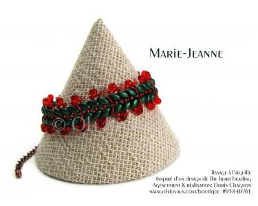 "Bracelet ""Marie-Jeanne"" en vert forêt et rouge"