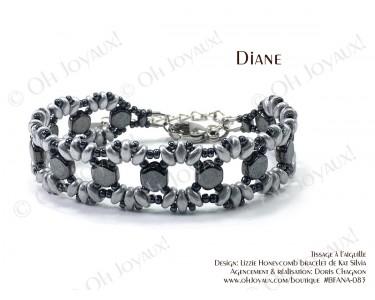 """Bracelet """"Diane"""" en argenté et hématite"""