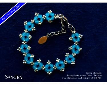"""Bracelet """"Sandra"""" en aquamarine et argenté"""
