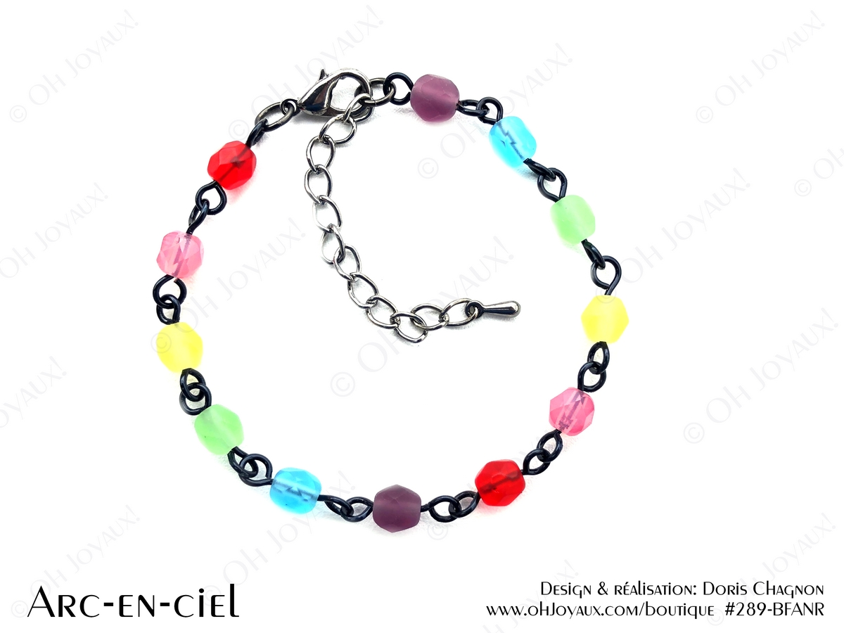 """Bracelet """"Arc-en-ciel"""" sur tiges métalliques couleur noire"""