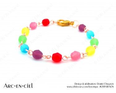 """Bracelet """"Arc-en-ciel"""" sur tiges métalliques couleur champagne"""