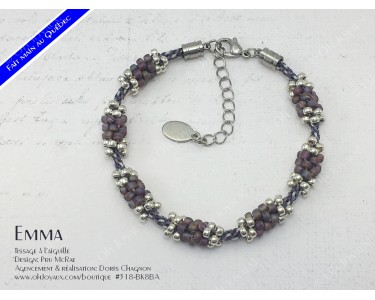 "Bracelet ""Emma"" en bourgogne et argenté"