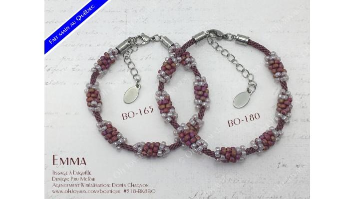 """Bracelet """"Emma"""" en bourgogne et lavande rosée"""