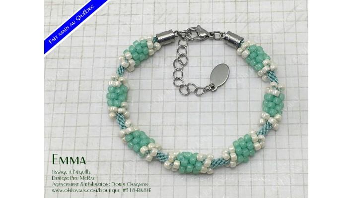 """Bracelet """"Emma"""" en vert kiwi et crème"""