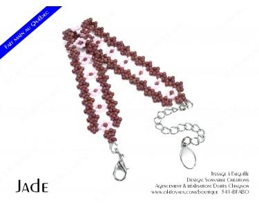 """Bracelet """"Jade"""" en bourgogne et rose"""