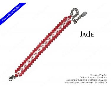 "Bracelet ""Jade"" en rouge et blanc"
