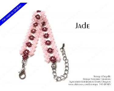 """Bracelet """"Jade"""" en rose et bourgogne"""