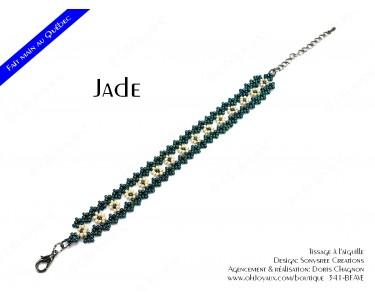 """Bracelet """"Jade"""" en vert et crème"""