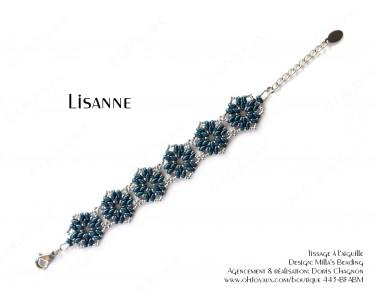 """Bracelet """"Lisanne"""" en bleu denim et argenté"""