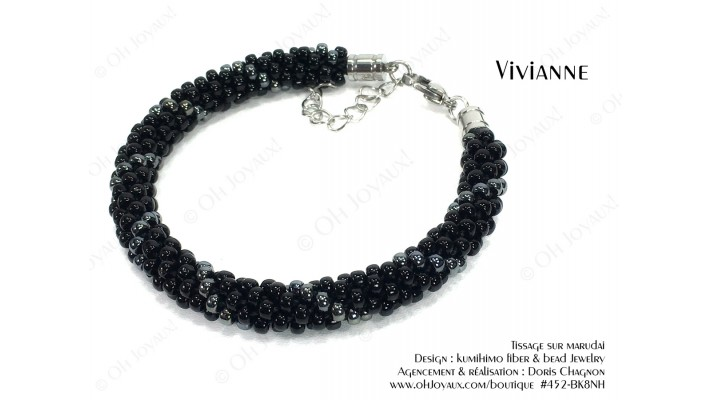 """Bracelet """"Vivianne"""" en noir et hématite"""